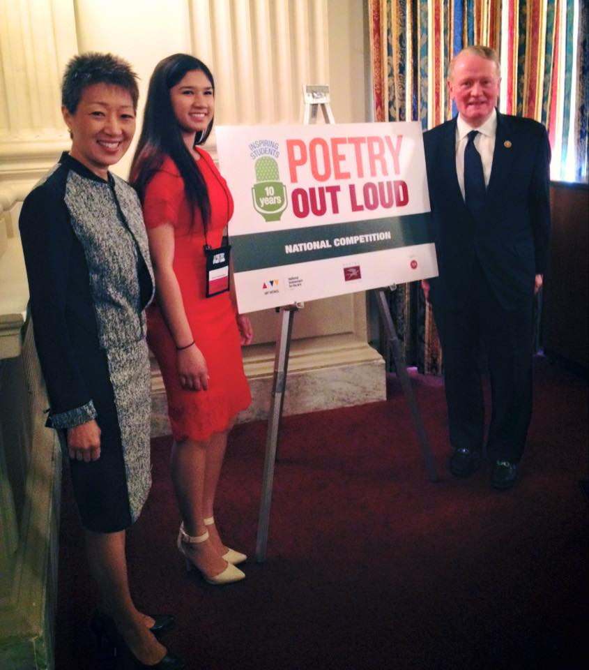 Beatrice with Congressman Leonard Lance and National Endowment for the Arts' Chair Jane Chu.  Photo from New Jersey Poetry Out Loud.