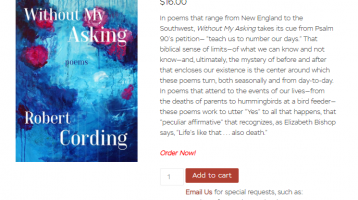 Robert Cording's new book, Without My Asking, is Here!
