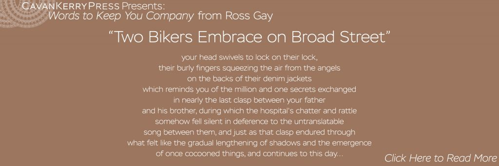 Words to Keep You Company: Two Bikers Embrace on Broad Street, by Ross Gay