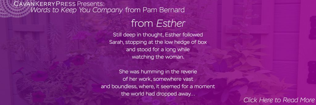 Words to Keep You Company from Pam Bernard. This excerpt comes from Esther: Still deep in thought, Esther followed Sarah, stopping at the low hedge of box and stood for a long while watching the woman. She was humming in the reverie of her work, somewhere vast and boundless, where, it seemed for a moment the world had dropped away... (Click to read more)